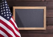 American Flag with Blackboard stock photography