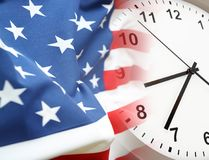 USA flag and clock. American flag blending into clock Royalty Free Stock Photos