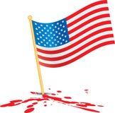 American flag on blood. Splattered ground Stock Images