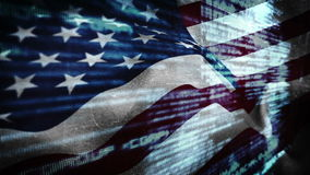 American flag blowing with digital matrix stock video footage