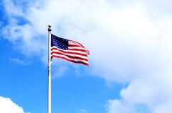 Free American Flag Blowing In The Wind Royalty Free Stock Photography - 188404597