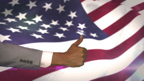 American flag blowing with thumbs up. Digital animation of American flag blowing with thumbs up stock video footage