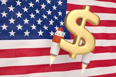 American flag blowing in the wind and dollar symbol rocket.3D il. Lustration Royalty Free Stock Image