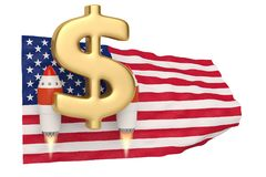 American flag blowing in the wind and dollar symbol rocket.3D il. Lustration Royalty Free Stock Photo