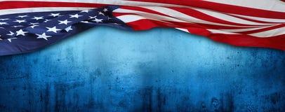 American flag on blue Stock Photo