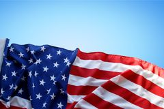 American flag on blue. Background Royalty Free Stock Photos