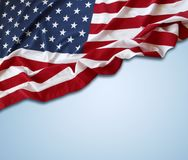 American flag on blue. Background Stock Images