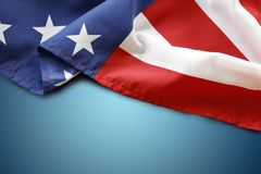 American flag. On blue background stock photos
