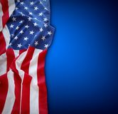 American flag on blue. Background Royalty Free Stock Photo