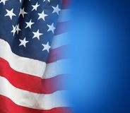 American flag on blue. Background Royalty Free Stock Image
