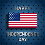 American Flag on blue background for Independence Day of USA. Celebration Stock Photo