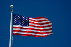 American flag and blue sky Royalty Free Stock Photo
