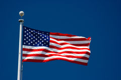 American flag and blue sky Royalty Free Stock Photography