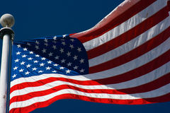 American flag and blue sky Royalty Free Stock Images