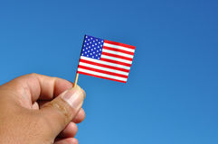 American flag in blue sky Royalty Free Stock Photo