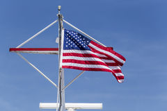 American Flag in blue sky Royalty Free Stock Photos