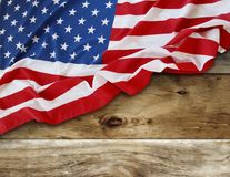 American flag on boards. American flag and wooden boards Royalty Free Stock Photo