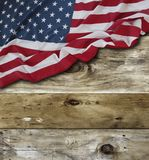 American flag on boards. American flag and wooden boards Royalty Free Stock Photos