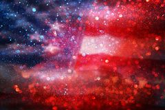 American flag and bokeh background with copy space for american celebration Royalty Free Stock Photography