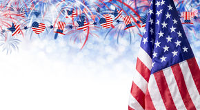 American flag and bokeh background with firework and copy space Stock Image