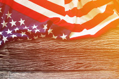 American flag border on wooden background Royalty Free Stock Images