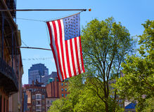 American flag in Boston downtown Massachusetts Royalty Free Stock Photo