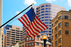 American flag in Boston downtown Massachusetts Royalty Free Stock Image