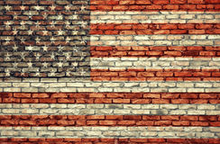 American flag on the brick wall Royalty Free Stock Image