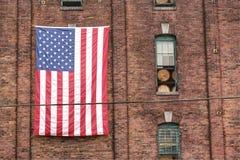 American flag on brick wall Royalty Free Stock Photos