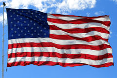 American Flag in Bright Blue Royalty Free Stock Photo