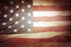 American flag. Brightly lit American flag glow Stock Image