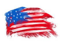 American flag in brush strokes. In white background Royalty Free Stock Photography