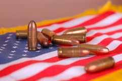 American flag with bullets royalty free stock photography