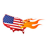 American Flag Burn and Fire. Vector Royalty Free Stock Photography