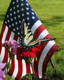 American Flag and Butterfly. American flag serves as a background for a beautiful butterfly on a red flower royalty free stock photo