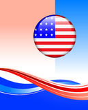 American Flag Button on abstract background Royalty Free Stock Image