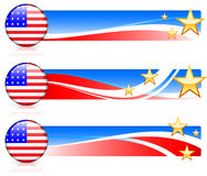 American Flag Button with Banners Royalty Free Stock Photo