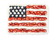 American flag cake decorated with blueberries and strawberries Royalty Free Stock Photo