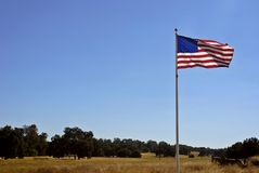 American Flag & California Land Stock Photography
