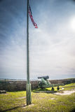 American Flag and Cannon at Fort Barrancas royalty free stock images
