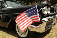 American Flag and Car. Photograph of an american classic car with American Flag Royalty Free Stock Photo