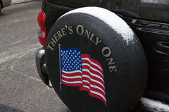 American Flag in Car Wheel Royalty Free Stock Photography