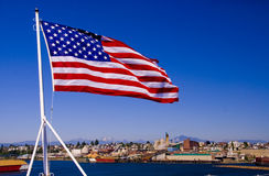 American Flag on a Carrier Royalty Free Stock Photography