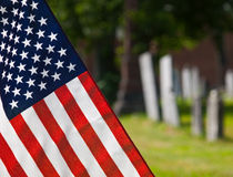 American Flag at Cemetary Stock Image