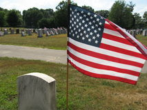 American Flag at Cemetery. On sunny day stock image