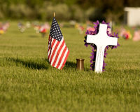 American Flag on  Cemetery Grounds Royalty Free Stock Images