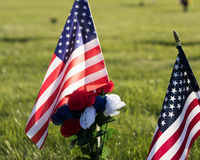 American Flag on  Cemetery Grounds Stock Image