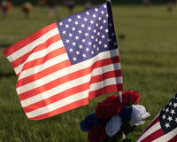 American Flag on  Cemetery Grounds Stock Images
