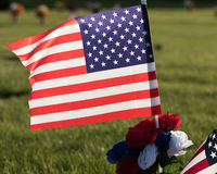American Flag on  Cemetery Grounds Stock Photo
