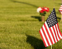 American Flag on  Cemetery Grounds Stock Photos